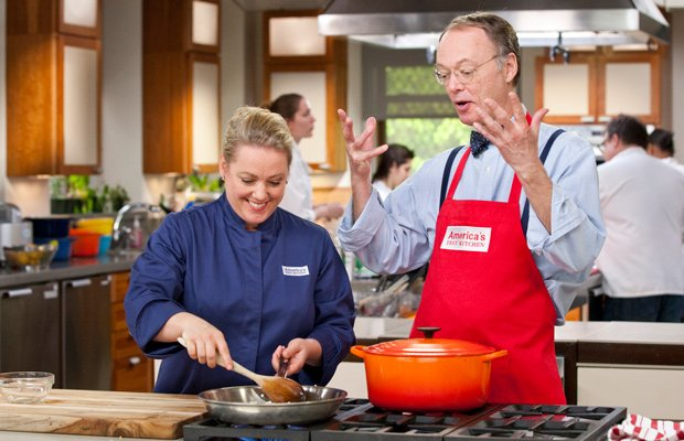 Julia Collin Davison cooks in the test kitchen with host Christopher Kimball.