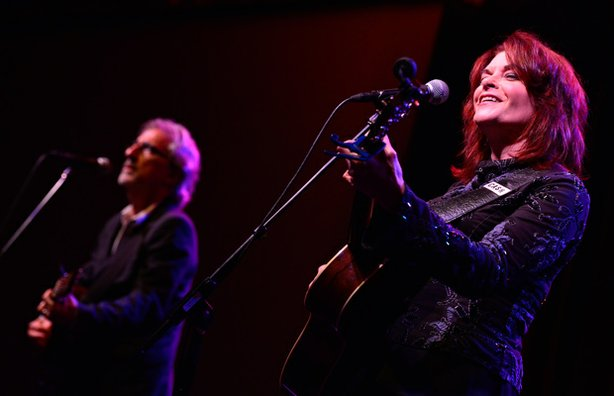 """Rosanne Cash and John Leventhal perform during the PBS ARTS Fall Festival """"Nashville 2.0"""" session at the Television Critics Association Summer Press Tour in Los Angeles, Calif. on Monday, August 5, 2013."""