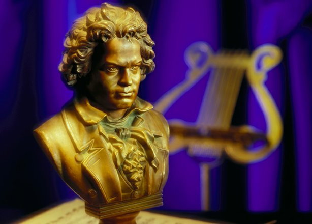 "Bust of Beethoven, whose ""Moonlight"" Sonata, Symphony No. 5 in C Minor and ""O..."