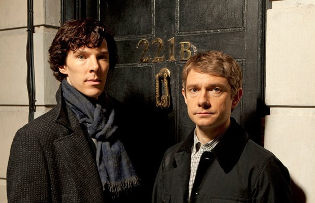 Benedict Cumberbatch as Sherlock Holmes and Martin Freeman as Dr. Watson in M...