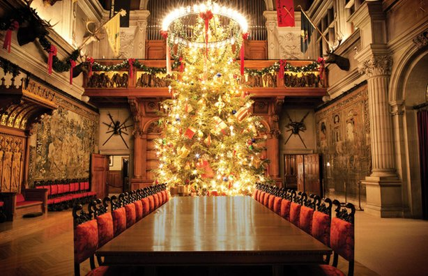 Banquet hall and Christmas tree at Biltmore House, Asheville, North Carolina.