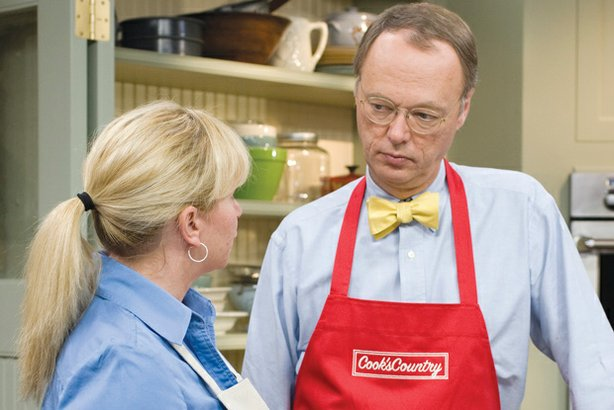 Test cook Bridget Lancaster with host Chris Kimball. The Daytime Emmy®-nomina...