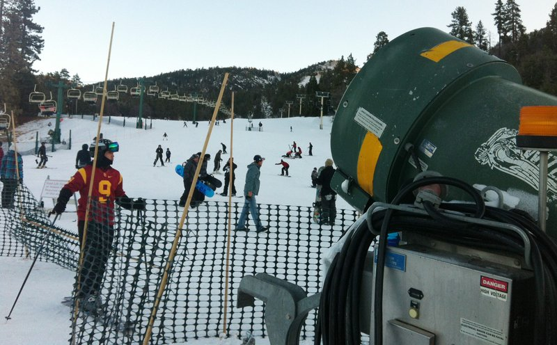 Snow enthusiasts ski down Bear Mountain at Big Bear Resorts thanks to powerfu...