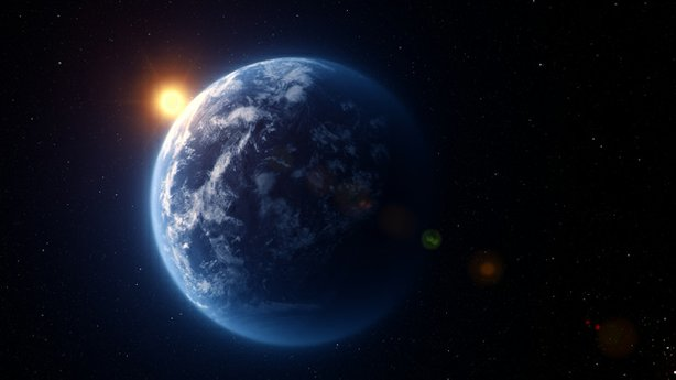 CGI recreation of Kepler 22b - a world larger than the Earth - the first habitable zone planet discovered by Kepler.