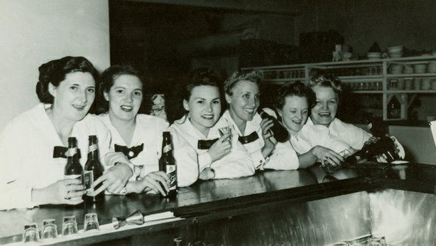 "The girls at the bar. ""The Harvey Girls: Opportunity Bound"" explores the lives, experiences, and contributions of the women who worked for the Fred Harvey restaurant empire."