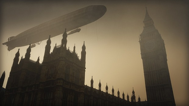 CGI image of a german zeppelin hovering over the houses of Parliament.
