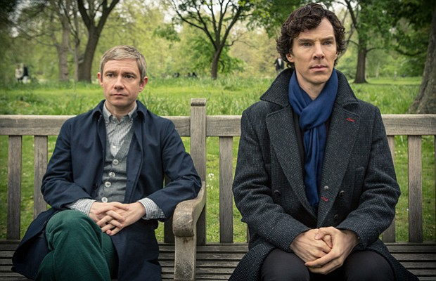 Martin Freeman as John Watson and Benedict Cumberbatch as Sherlock Holmes.