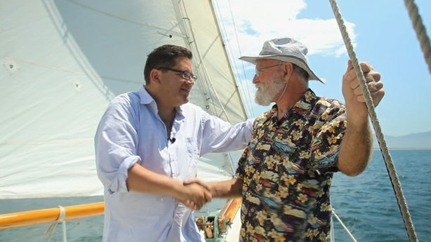 Host Jorge Meraz joins Captain Gary for a sailing lesson in Ensenada, Baja California, Mexico.