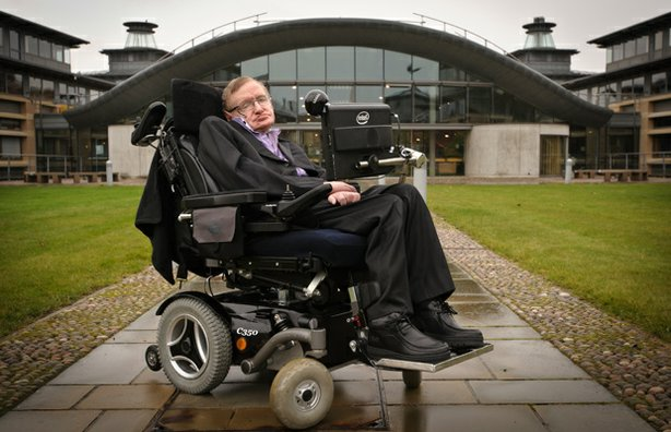 Portrait of Stephen Hawking outside DAMTP, Department of Applied Mathematics ...