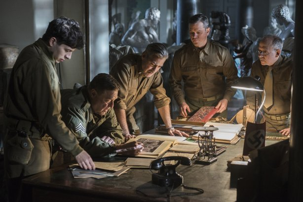 "John Goodman, George Clooney, Matt Damon, and Bob Balaban as some of ""The Monuments Men"" in search of stolen art at the end of World War II."