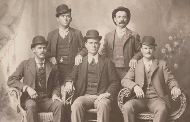 The Fort Worth Five from left to right: Harry Alonzo Longabaugh (The Sundance Kid), William Carver (News Carver), Benjamin Kilpatrick (The Tall Texan), Harvey Logan (Kid Curry), and Robert Leroy Parker (Butch Cassidy).