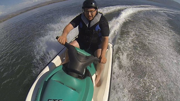 Host Jorge Meraz rides a jet ski for the first time in the Estero Beach Estua...