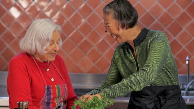 Chef Su-Mei Yu (right) cooks with Rancho La Puerta co-founder and owner Debor...