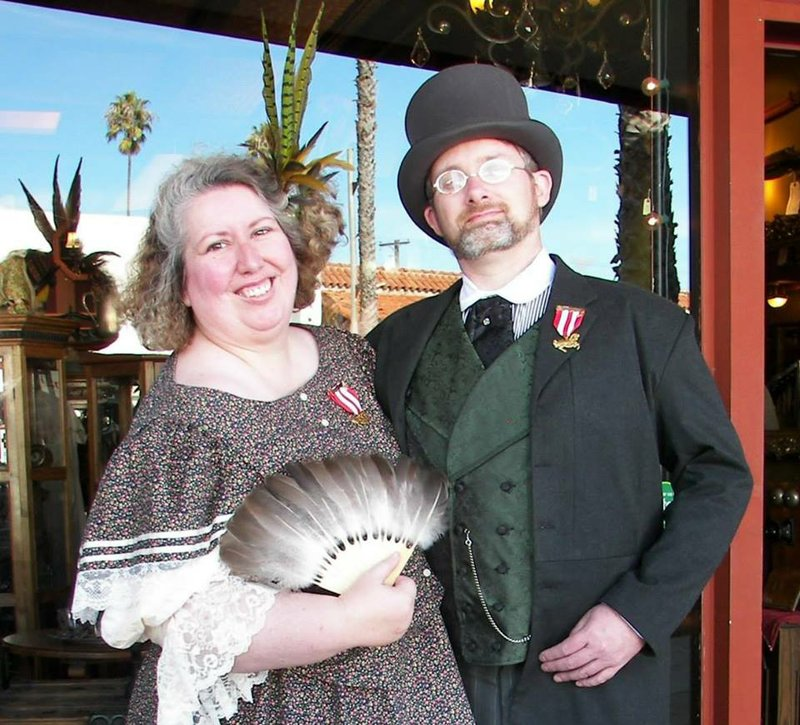 Kim Keeline and her husband James in their steampunk outfits on Feb. 9, the d...