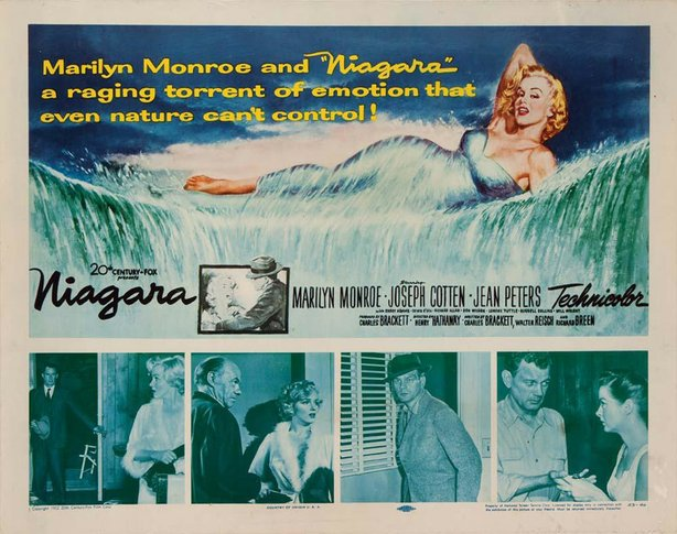 "The lobby card for the film noir ""Niagara"" featuring Marilyn Monroe in a rare..."