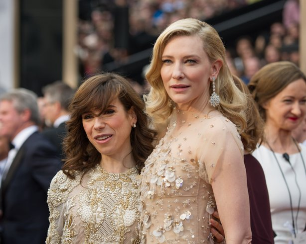 "Sally Hawkins and Cate Blanchett (both nominees for ""Blue Jasmine"") demonstrate the beige on beige look of the Oscars... that also captured the blandness of the whole Oscar extravaganza."