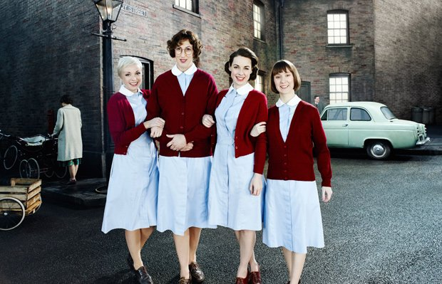 L-R: Helen George as Trixie, Miranda Hart as Chummy, Jessica Raine as Jenny, ...