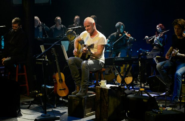 "Sting performs ""The Last Ship"" to benefit The Public Theater on September 25, 2013 in New York City."