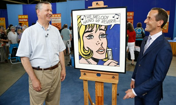 Todd Weyman (right) appraises a 1965 Roy Lichtenstein screenprint for $300,00...