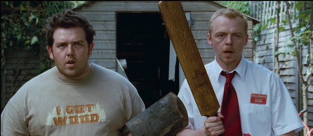"Facing the zombie apocalypse with apathy, Nick Frost and Simon Pegg in ""Shaun of the Dead."""