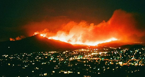 The Harris Fire burns down Mount Miguel in San Diego County on Oct. 23, 2007.
