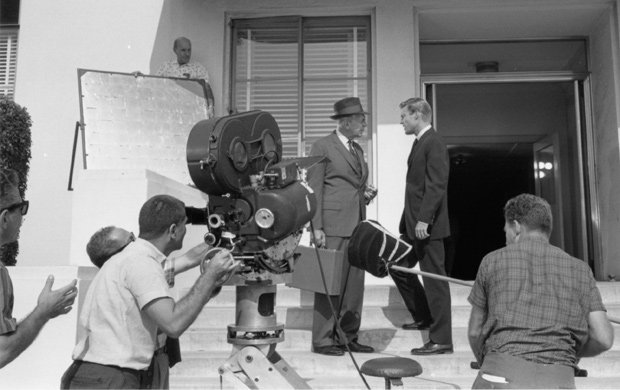 Raymond Massey and Richard Chamberlain shooting DR. KILDARE.