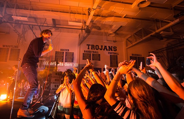 Pictured, singer Thomas Mars. Inside the Anderson High School gym in Austin, ...