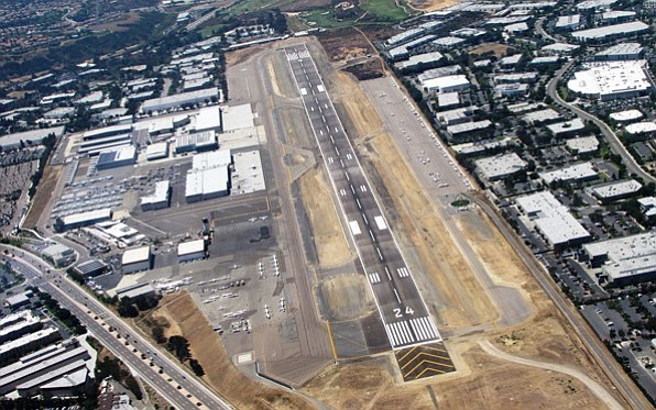 Aerial view of Palomar Airport and surrounding property in Carlsbad.