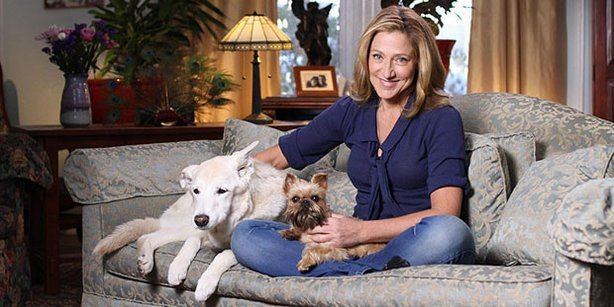 """SHELTER ME """"Second Chances,"""" hosted by Edie Falco (pictured with her dogs), i..."""