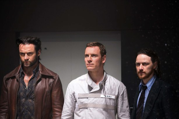 "Hugh Jackman as Logan/Wolverine, Michael Fassbender as Eric Lehnsherr/Magneto, and James McAvoy as Professor Charles Xavier in ""X-Men: Days of Future Past."""