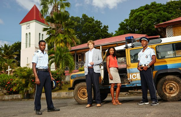 Fidel (Gary Carr), Humphrey (Kris Marshall), Camille (Sara Martins) and Dwayne (Danny John-Jules) in season three of DEATH IN PARADISE.
