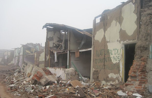 Damaged buildings in Talca, Chile, 2010. In 2010, epic earthquakes all over t...