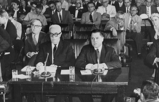 Jimmy Hoffa at a 1959 Racketeering hearing. Who killed Hoffa and why?