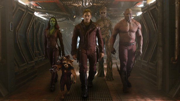 """The ragtag """"Guardians of the Galaxy:"""" Gamora (Zoe Saldana), Rocket Raccoon (Bradley Cooper), Peter Quill (Chriss Pratt), Groot (Vin Diesel), and Drax (David Bautista), out to save the universe if they can just come up with a plan."""