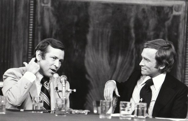 """The Dick Cavett Show"" of August 1, 1973 on location from the Senate Watergate Committee hearing room in Washington D.C. Committee Vice-Chairman Senator Howard Baker is on the left; Dick Cavett is on the right."