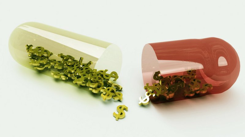A photo illustration shows dollar signs falling out of a broken pill capsule.