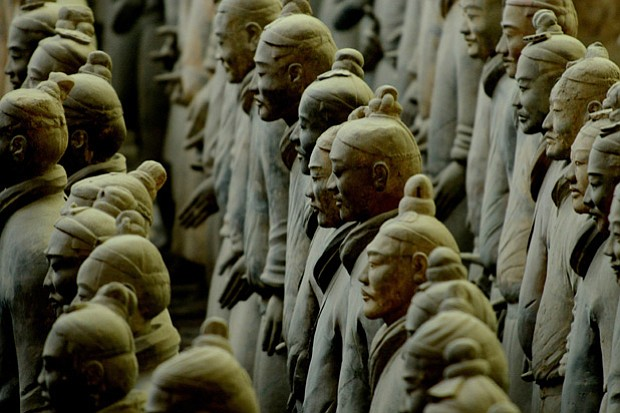Row of terracotta warriors, Pit One, TAM.