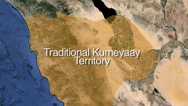Traditional Kumeyaay territory stretches from San Diego's coast to the desert. Frank Salazar, a member of the Campo Band of Kumeyaay Indians said Kumeyaay territory had the most diverse geography of any other tribe in the United States.