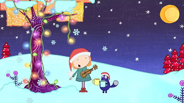 """A scene from the Cat + Peg episode, """"The Christmas Problem."""" When Santa Claus..."""