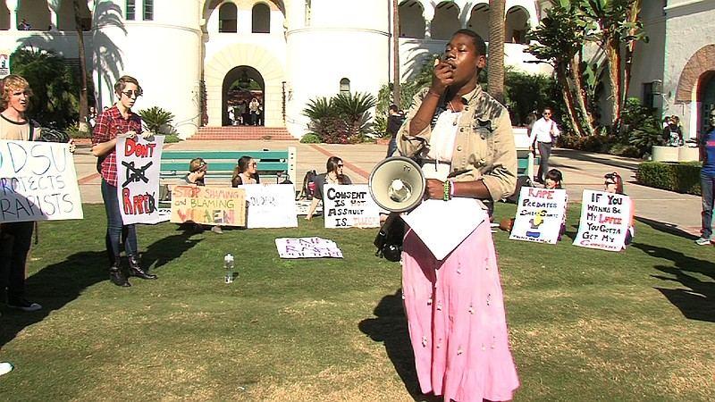 Student activists rallied on the campus of San Diego State University Tuesday...