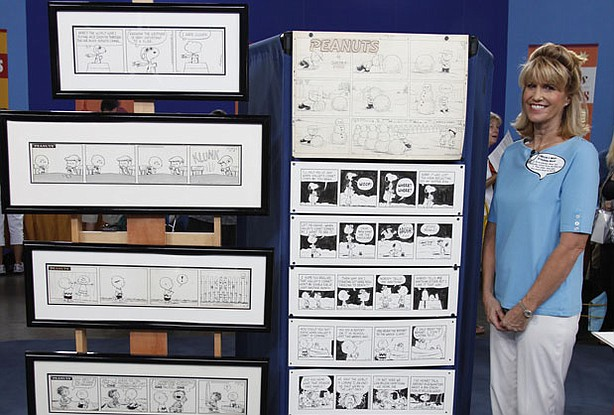 """At ANTIQUES ROADSHOW in Phoenix, Arizona, this guest brings in an extensive collection of original art from cartoonist Charles Schulz' iconic comic strip """"Peanuts."""" Appraiser Gary Sohmers is delighted to see such a varied collection and assigns a hefty insurance value of $350,000."""