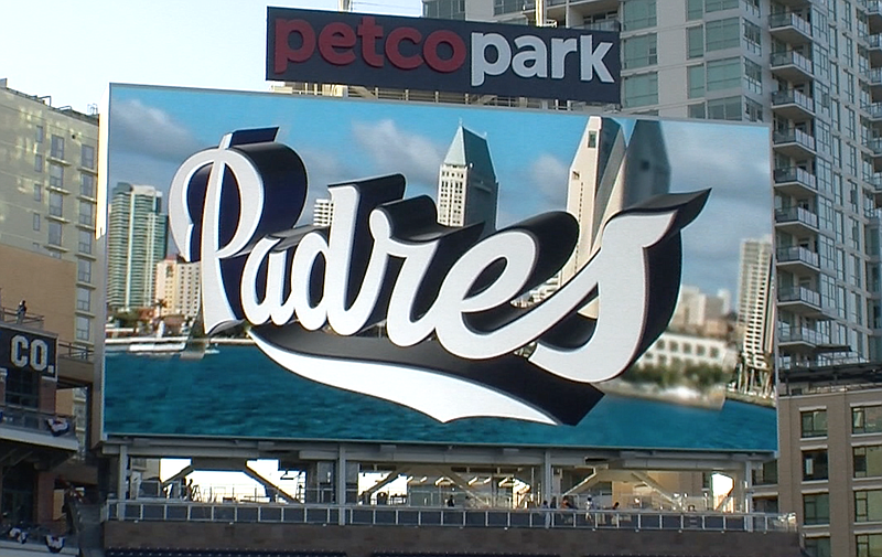 The San Diego Padres showed off their new video board in left field before th...