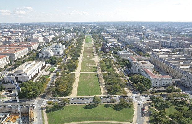 The National Mall, looking east from the Washington Monument.