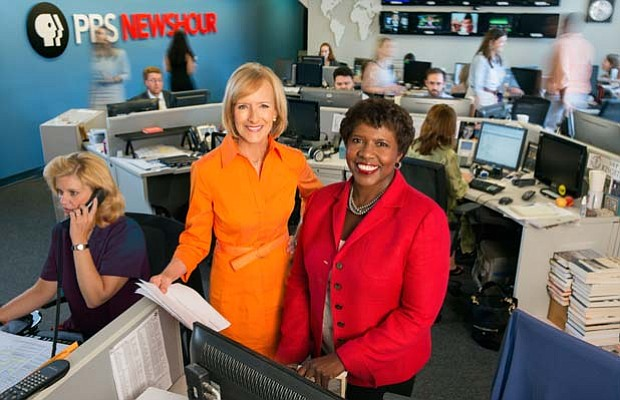 Judy Woodruff (left) and Gwen Ifill (right) co-anchor the PBS NEWSHOUR nightl...