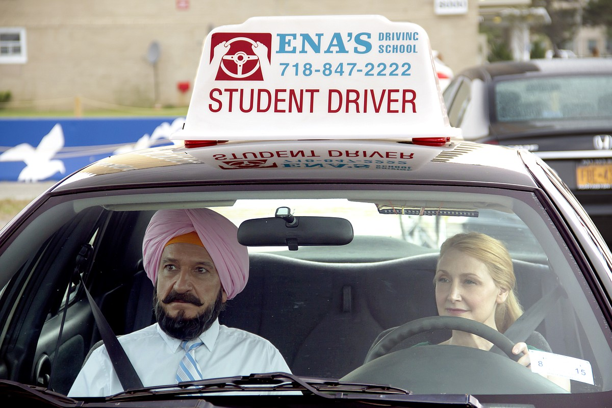 "(l to r) Ben Kingsley stars as Darwan and Patricia Clarkson as Wendy in ""Learning to Drive."""