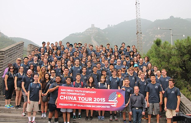 The San Diego Youth Symphony is shown on the Great Wall of China during the g...