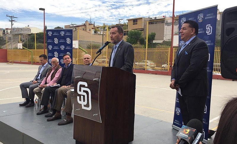 Members from the San Diego Padres and Major League Baseball, along with Tijua...