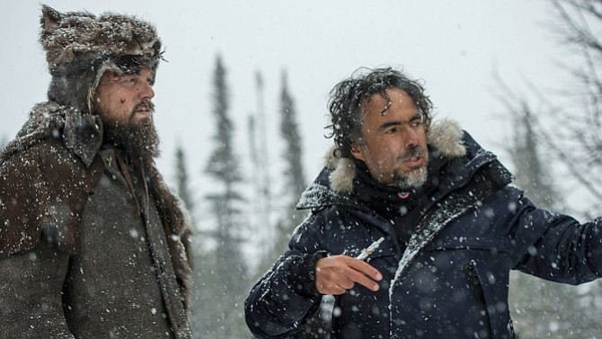 Leonardo DiCaprio being directed by Alejandro G. iñárritu in the freezing col...