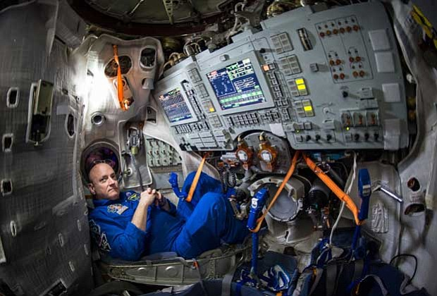 NASA Astronaut Scott Kelly is seen inside a Soyuz simulator at the Gagarin Co...