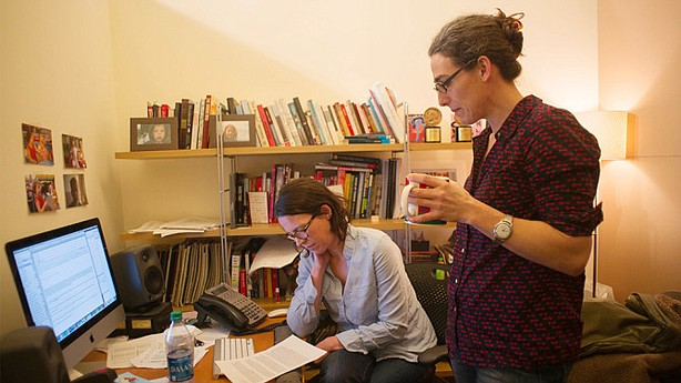 "A portrait of ""Serial"" co-creators Julie Snyder and Sarah Koenig at work."